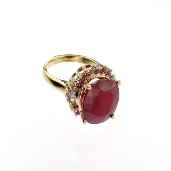 APP: 13k 14kt Yellow & White Gold Ruby & Diamond Ring