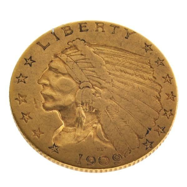 1909 $2.5 U.S Indian Head Type Gold Coin - Investment