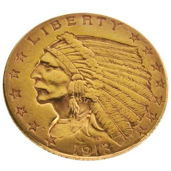 1913 $2.5 U.S Indian Head Type Gold Coin - Investment