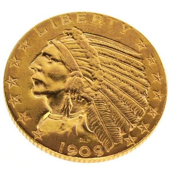 1909-D $5 US Indian Head Type Gold Coin - Investment
