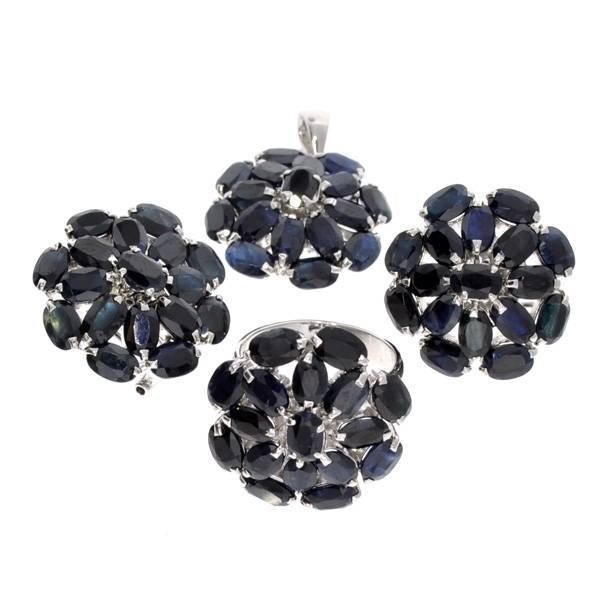 APP: 19k Sapphire & Ring, Pendant, & Earrings Set