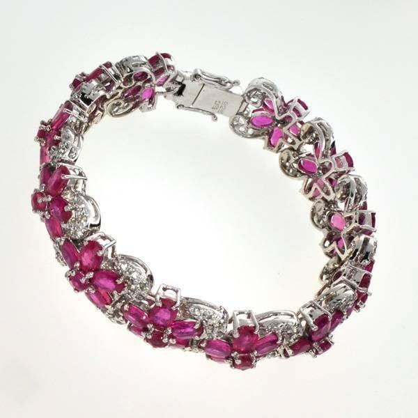 APP: 31k 40CT  Ruby & Topaz Sterl Silver Bracelet