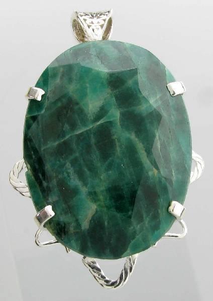 APP: 23k 381CT  Oval Cut Emerald & Sterl Silver Pendant