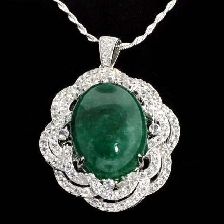 APP: 10k Cabochon Emerald & Sapphire Silver Necklace