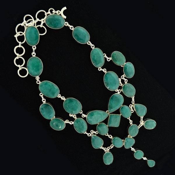 APP: 36k 382CT  Mixed Cut Grn Beryl & Silver Necklace