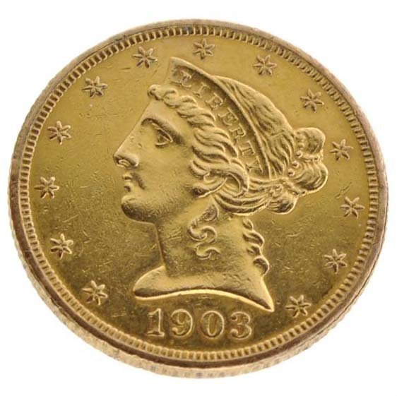 1903 $5 US Liberty Head Gold coin - Investment