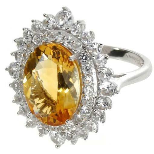 APP: 5k 5CT  Oval Cut Citrine & Sapphire Silver Ring