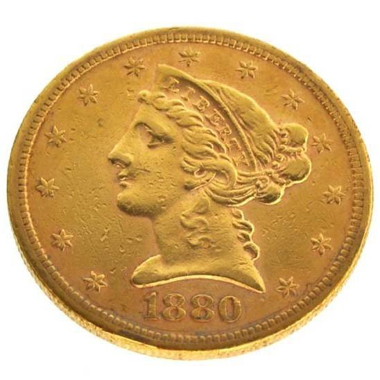 1880-S $5 U.S Liberty Head Type Gold Coin - Investment