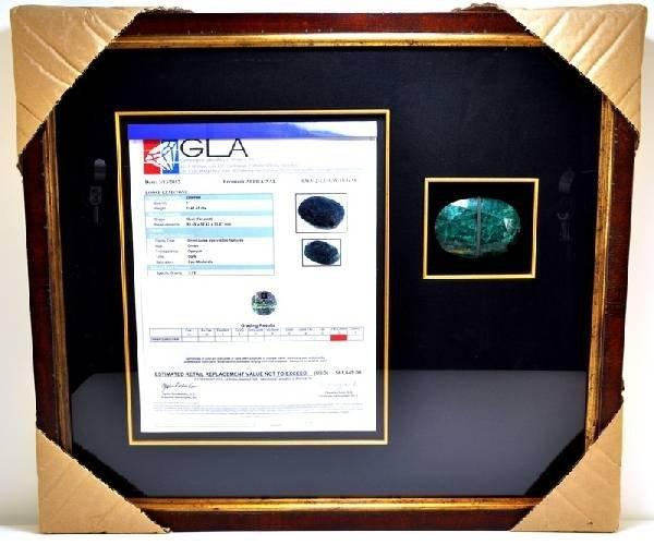 APP: 61k 1141CT Museum Framed Oval Cut Emerald Gemstone