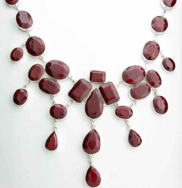 APP: 44k 646CT  Mixed Cut Ruby & Sterl Silver Necklace