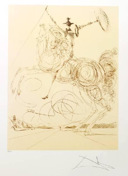 SALVADOR DALI Don Quioxte in Sepia Print, Limited Edn