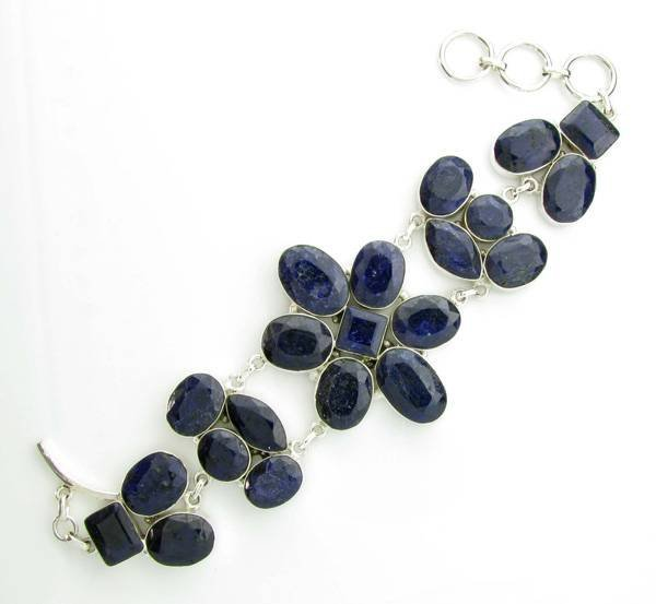 APP: 9k 145CT  Mixed Cut Sapphire & Silver Bracelet