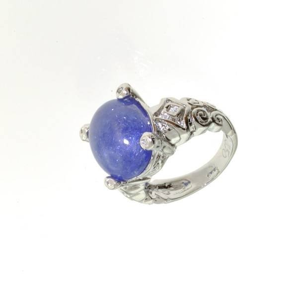 APP: 13k 13CT  Oval Cut Cabochon Tanzanite Silver Ring