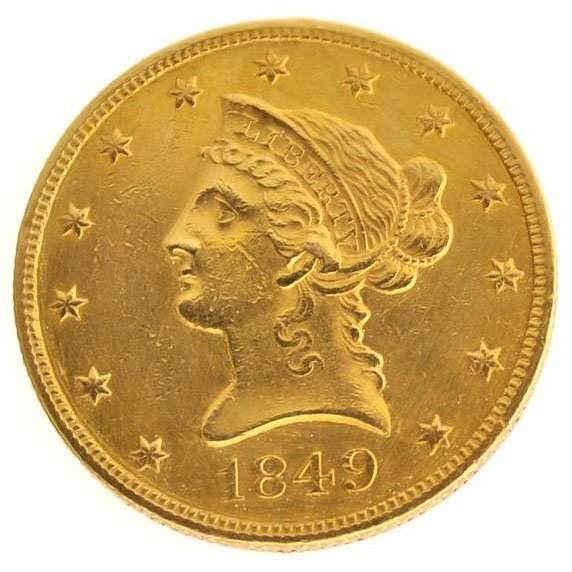 1849 N/M $10 U.S Liberty Head Type First Year Gold Coin
