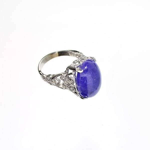 APP: 6k 14kt White Gold, 11CT Cabochon Tanzanite Ring