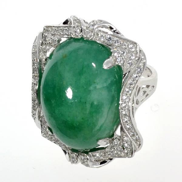 APP: 10k 30CT Cabochon Emerald & Sapphire Silver Ring