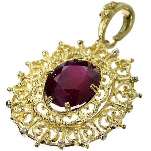 APP: 20k 14kt Gold, 19CT Oval Ruby & Diamond Pendant