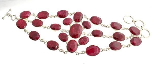 APP: 37k 162.44CT Ruby & Sterling Silver Bracelet