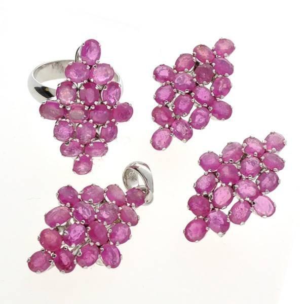 APP: 20k Ruby & Silver Ring, Pendant, & Earrings Set