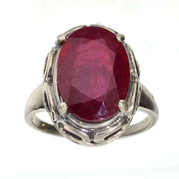 APP: 7k 5CT  Oval Cut Ruby & Sterl Silver Ring