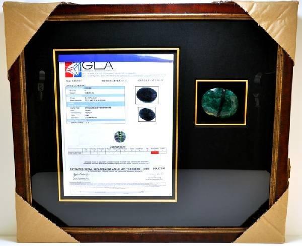 APP: 64k 1195CT Museum Framed Oval Cut Emerald Gemstone