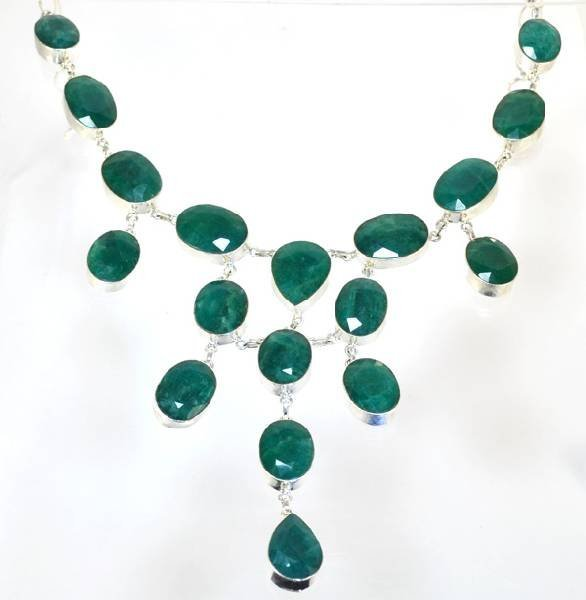APP: 31k 273CT Oval Genuine Grn Beryl & Silver Necklace