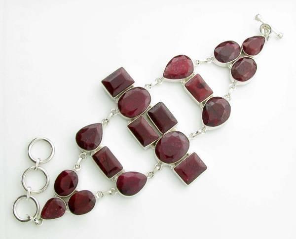APP: 12k 144CT  Mixed Cut Ruby & Sterl Silver Bracelet