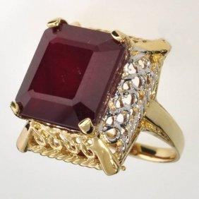 APP: 17.1k 14 Kt Gold 18.25CT Emerald Cut Ruby Ring