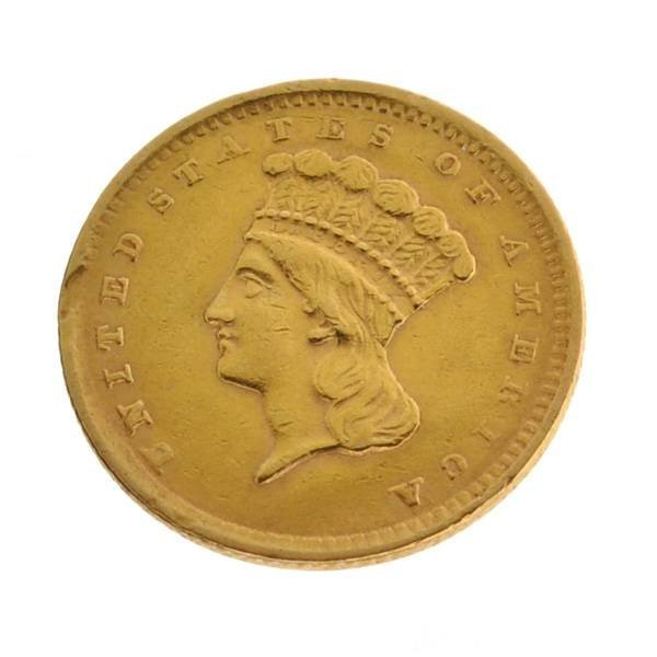 1856 $1 US Indian Head Type Gold Coin - Investment
