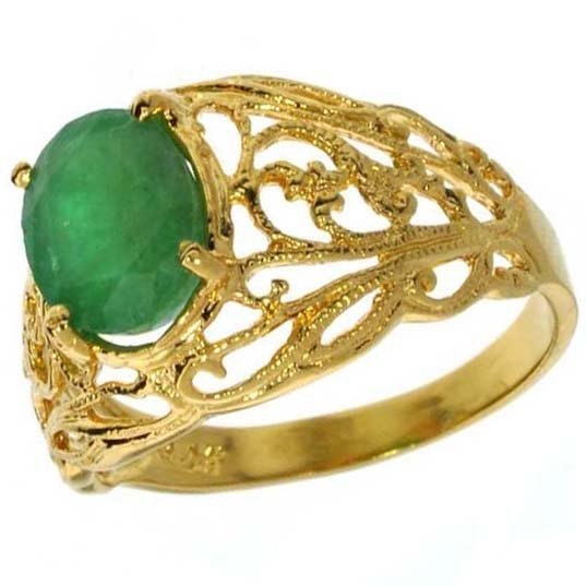 APP: 5k 1CT Emerald & 14kt. Yellow Gold Silver Ring
