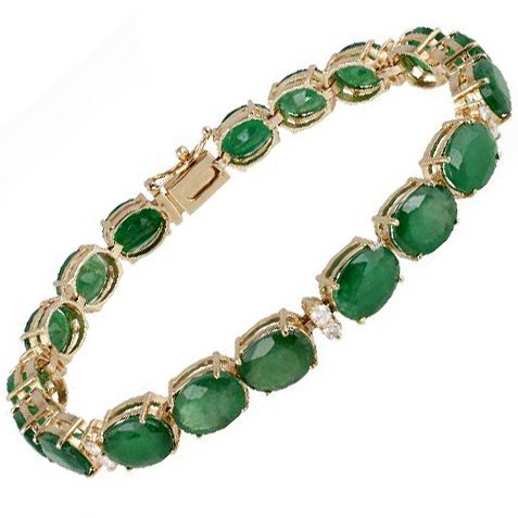 APP: 23k *14 kt Gold, 29CT Emerald & Diamond Bracelet