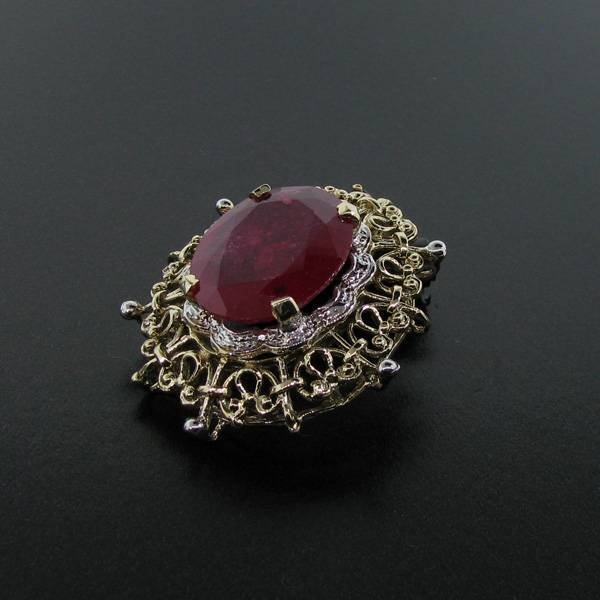 APP: 12.9k 14.29CT 14 kt. Gold, Ruby Pendant
