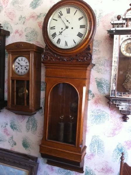Antique Oak Wall Clock - Runs Well - Pick Up Only