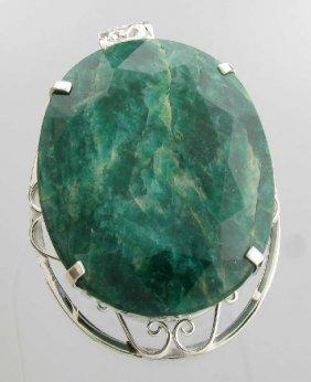 APP: 19k 467CT  Oval Cut Emerald & Sterl Silver Pendant