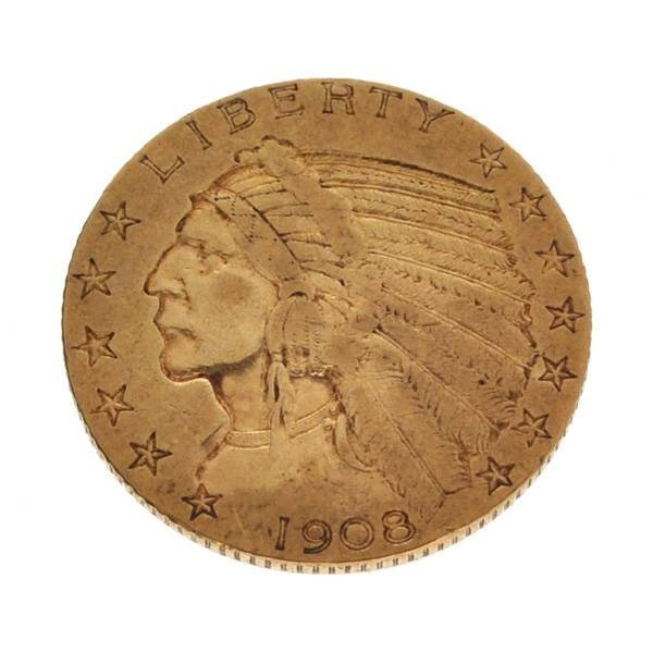 *1908 $5 Indian Head Gold Coin - Investment