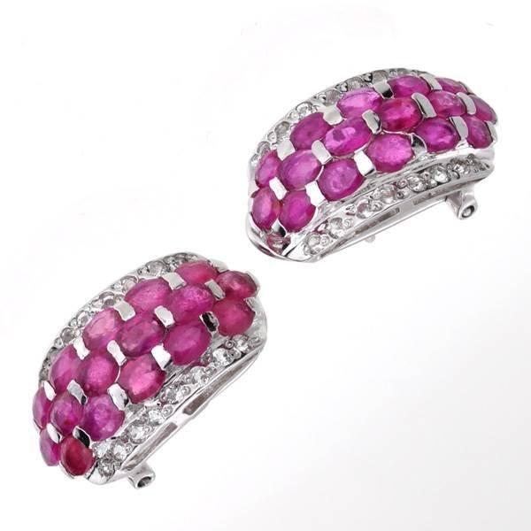 APP: 7k 3CT  Ruby & Topaz Sterl Silver Earrings