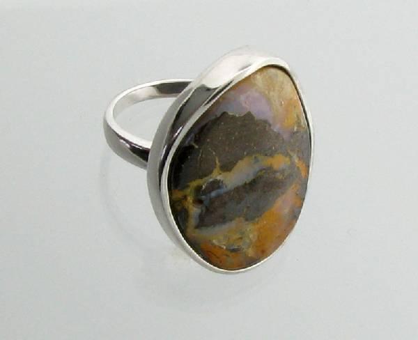 APP: 7.4k 5.44CT Boulder Opal & Sterling Silver Ring
