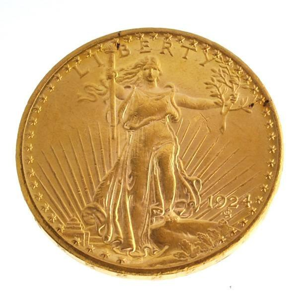 1924 $20 U.S Saint Gaudens Type Gold Coin - Investment