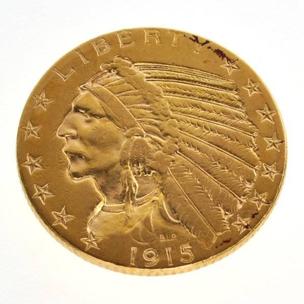 1915-S $5 US Indian Head Type Gold Coin - Investment