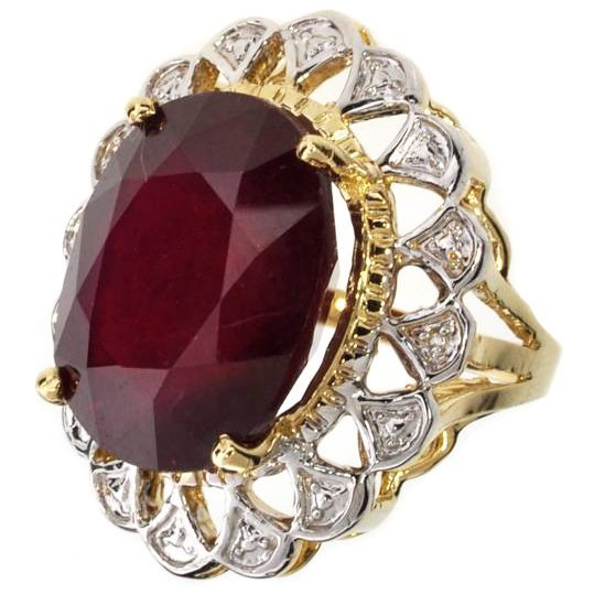 APP: 18.6k 14 kt Gold 25.48CT Oval Cut Ruby Ring