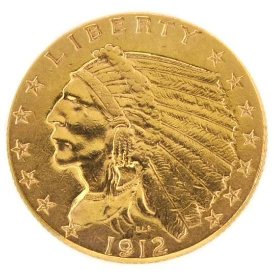 1912 $2.5 U.S Indian Head Type Gold Coin - Investment