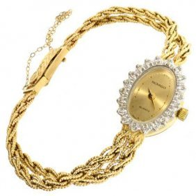 APP: 4.6k *14 kt. Gold, 0.18CT Diamond Concord Watch
