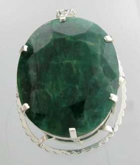 APP: 30k 492CT  Oval Cut Emerald & Sterl Silver Pendant