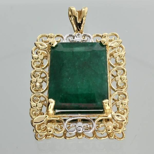 APP: 13k 14kt White & Yellow Gold 17CT Emerald Pendant
