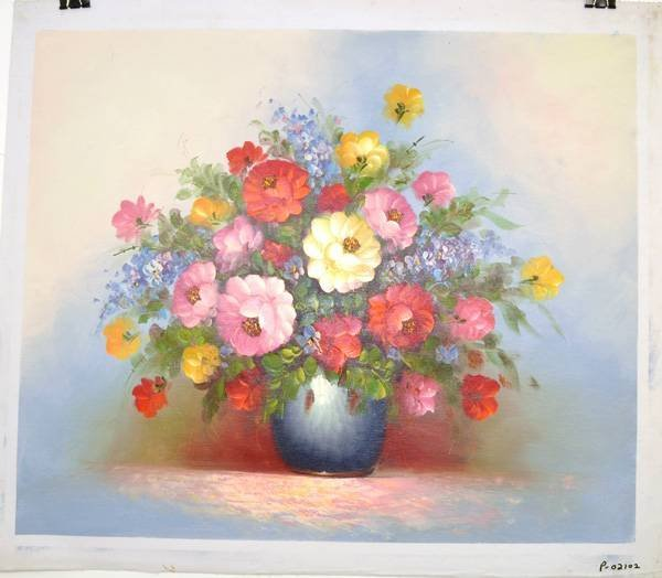 Oil Painting - Flowers in a  Blue Vase- 23x27