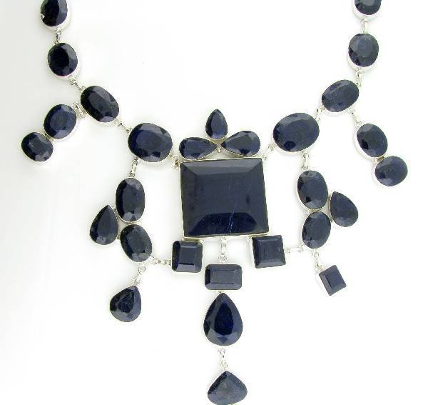 APP: 39k 596CT  Sapphire & Sterling Silver Necklace
