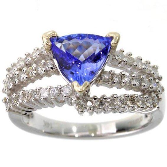 APP: 8k *14 kt White Gold 1 CT Tanzanite & Diamond Ring