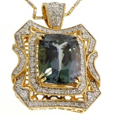 APP: 26k *14 kt Gold Zoisite & Diamond Pendant w/Chain