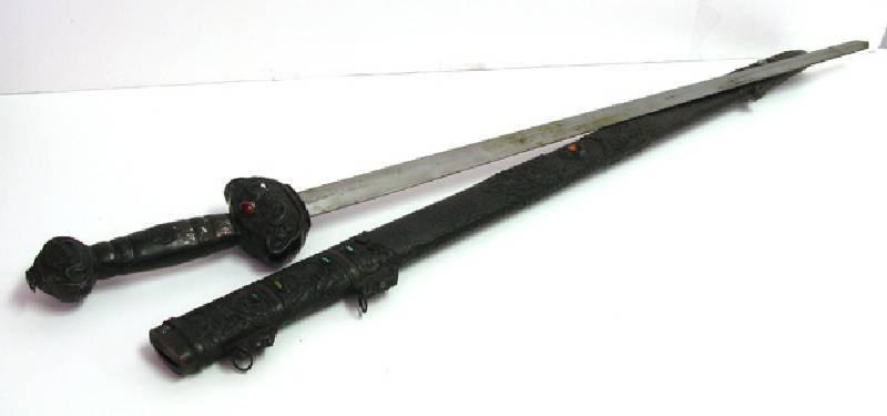 Large Ornamental Sword - Antique Copper w/Inset Stones