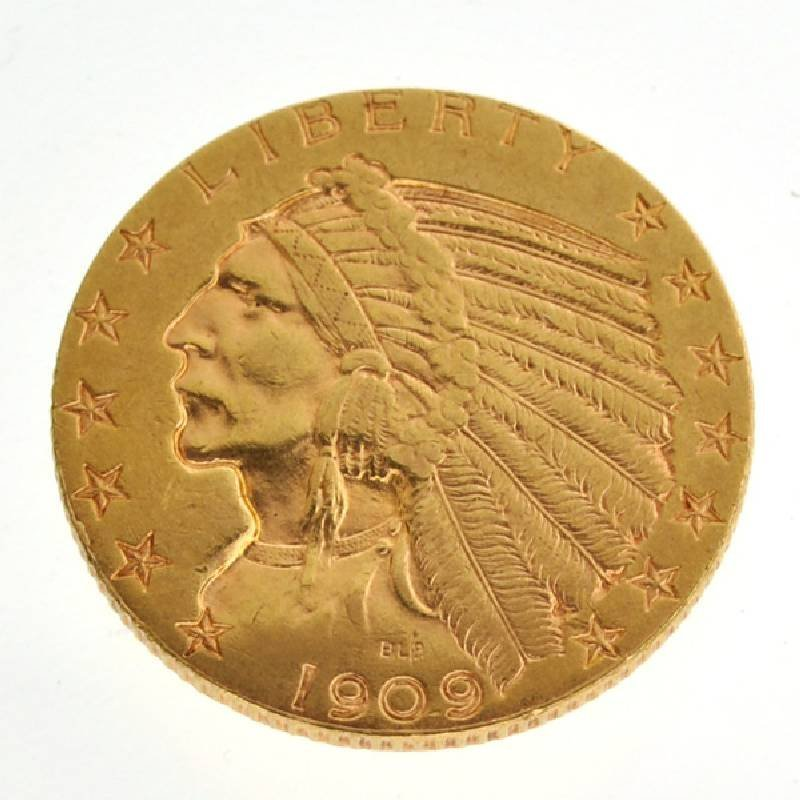 1909-D $5 U.S Indian Head Type Gold Coin - Investment